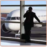 Man waiting for plane